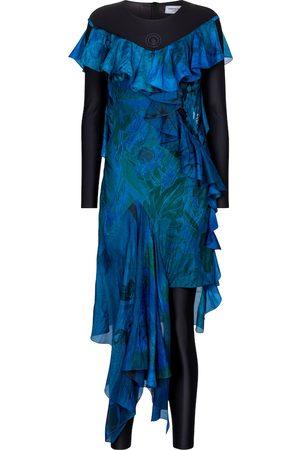 Marine Serre Exklusiv bei Mytheresa – Asymmetrisches Kleid aus Seide