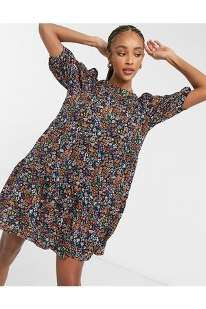 ONLY Mini smock dress with puff sleeves in purple and orange floral-Multi