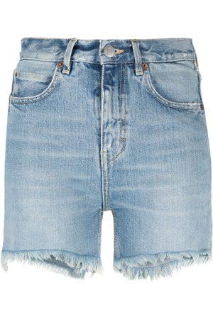 haikure Damen Shorts - High-rise frayed-edge shorts