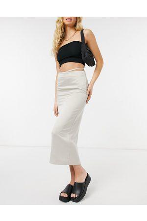 ASOS Satin bias midi slip skirt with cut out waist detail in taupe-Brown