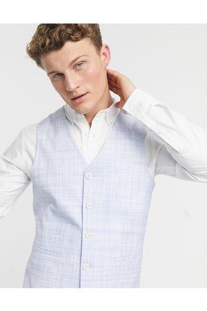 ASOS DESIGN Wedding skinny suit trousers in pastel blue crosshatch