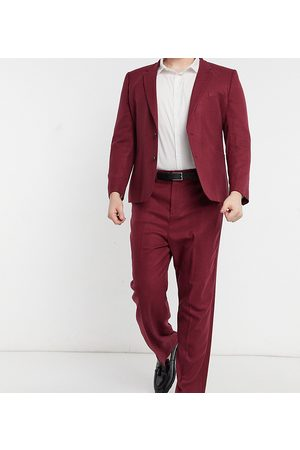 ASOS Plus wide leg suit trousers in burgundy twill