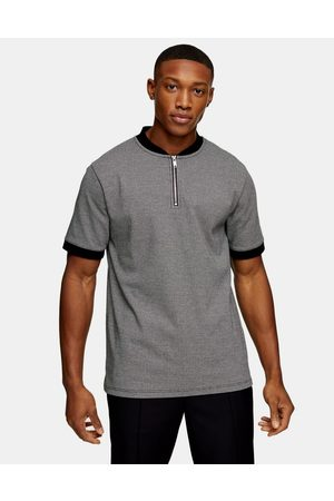 Topman Houndstooth polo in grey