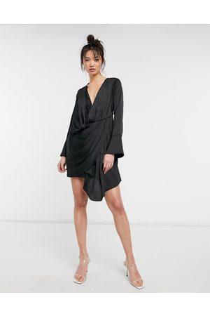 ASOS Satin mini dress with drape skirt detail in black