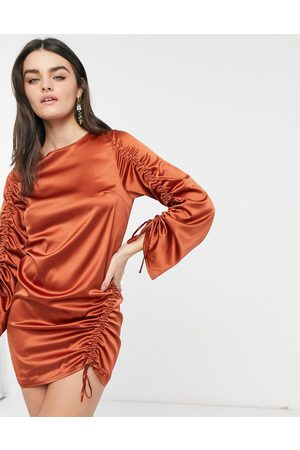 ASOS Long sleeve ruched shift satin mini dress in rust-Brown