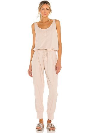 Eberjey Brie Cargo Jumpsuit in - Blush. Size L (also in M, S).
