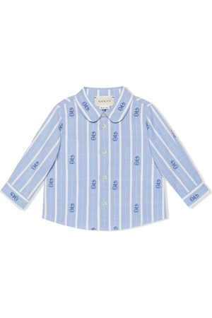 Gucci GG embroidered candy-stripe shirt