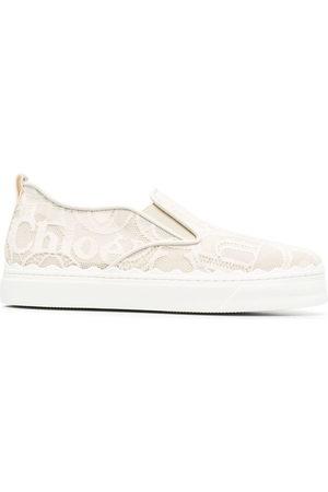 Chloé Lauren embroidered slip-on sneakers