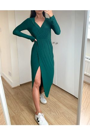 ASOS Plunge wrap shirt maxi dress in forest green