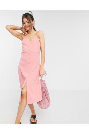 Cotton On Damen Freizeitkleider - Strappy button through midi dress in pink