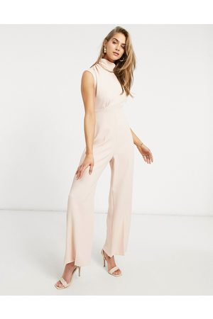 Closet High neck cap sleeve jumpsuit in blush-Pink
