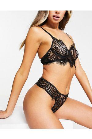 Love & Other Things Damen Strings - Eyelash lace lingerie set in black
