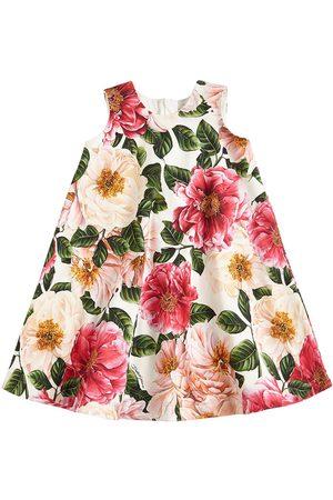 Dolce & Gabbana Damen Bedruckte Kleider - Kleid Aus Baumwollinterlock Mit Blumendruck