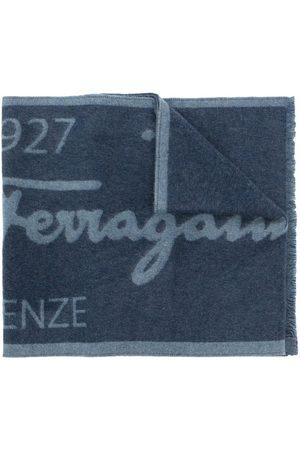Salvatore Ferragamo Two-tone logo wool scarf