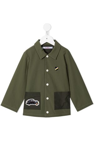 Familiar Embroidered car motif shirt jacket