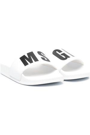 Msgm TEEN two-tone logo-print sliders