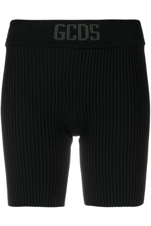 GCDS Ribbed-knit cycling shorts