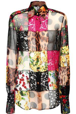Dolce & Gabbana Damen Blusen - Hemd Aus Spitze Und Crepe De Chine
