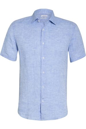 Reiss Halbarm-Hemd Holiday Slim Fit Aus Leinen blau