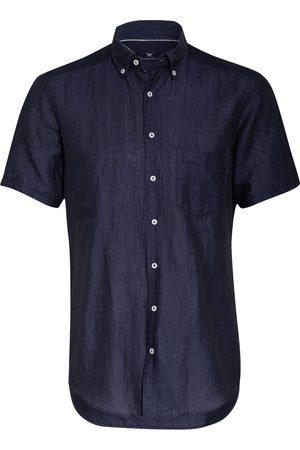 STROKESMAN'S Halbarm-Hemd Regular Fit Mit Leinen blau