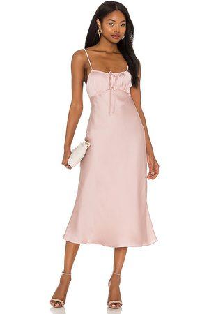 Lovers + Friends Dee Midi Dress in - Blush. Size L (also in XXS, XS, S, M, XL).