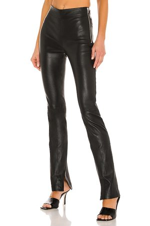 Helmut Lang Slit Leather Pant in - Black. Size 0 (also in 2, 4, 6, 8).