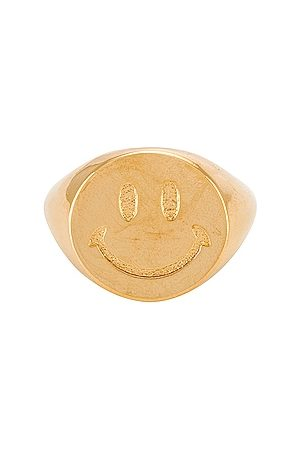 joolz by Martha Calvo Smiley Face Signet Ring in - Metallic . Size 6 (also in 7, 8).