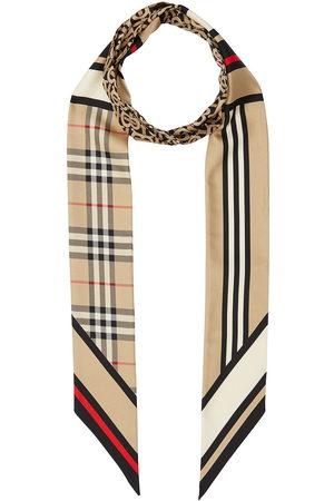Burberry Montage-print silk skinny scarf