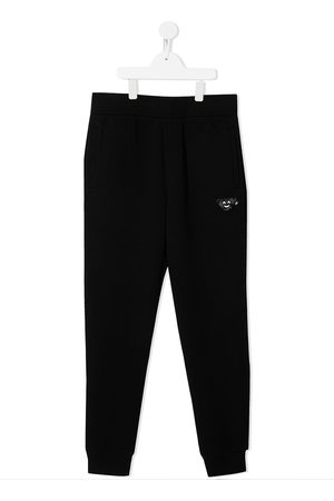 Emporio Armani Kids TEEN embroidered tracksuit bottoms