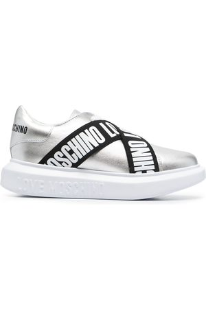 Love Moschino Logo strap leather sneakers