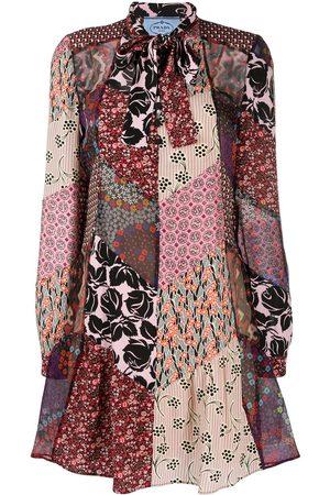 Prada Damen Freizeitkleider - Floral patchwork long sleeve dress