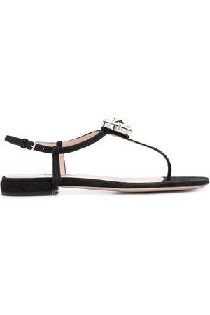 Miu Miu Damen Sandalen - T-bar embellished sandals