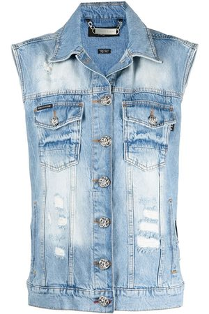 Philipp Plein Logo patch denim vest