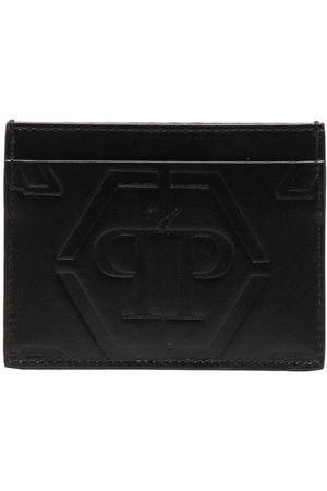Philipp Plein Skull-embossed leather card holder