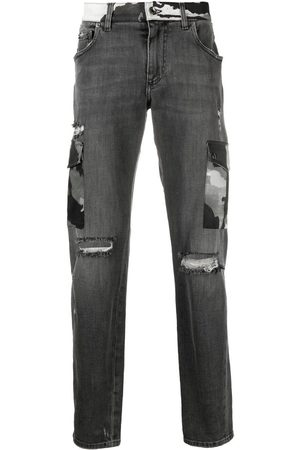 Dolce & Gabbana Herren Bootcut - Ripped camouflage-detail bootcut jeans