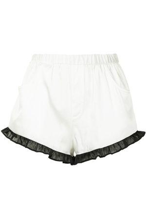 FLEUR DU MAL Ruffled silk-blend shorts
