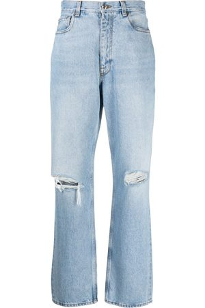 Etro Ripped-knee straight-leg jeans