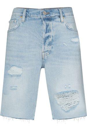 Frame Le Slouch Distressed Bermuda Denim Shorts