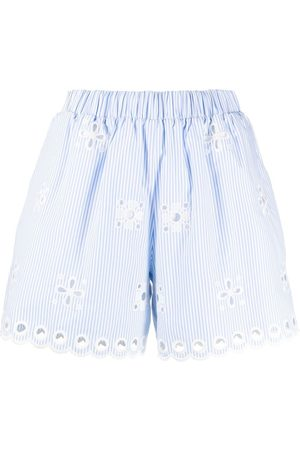 RED Valentino Stripe floral embroidered shorts
