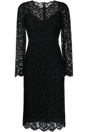 Dolce & Gabbana Damen Bedruckte Kleider - Floral lace long-sleeve dress