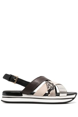 Hogan Colour block cross strap sandals