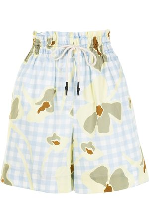 Lee Mathews Floral gingham-print shorts