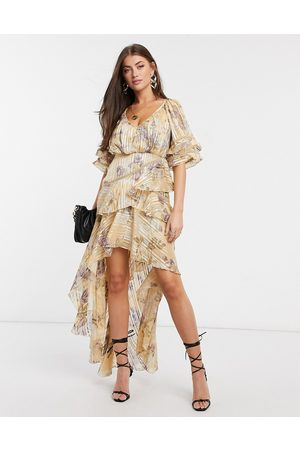 ASOS Tiered ruffle maxi dress in floral print with satin and rope trim inserts