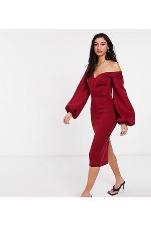ASOS ASOS DESIGN Tall fallen shoulder midi dress with balloon sleeve in wine-Purple