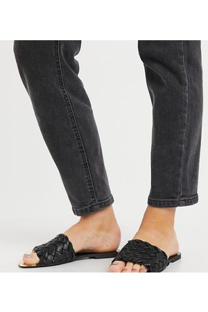 River Island Wide Fit woven faux leather slider sandal in black