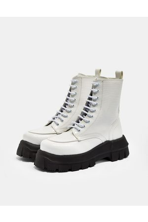 Topshop Verity White Chunky Lace Up Boot