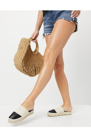 South Beach Exclusive backless espadrille slides with contrast toe cap-Cream