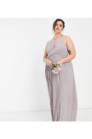 TFNC Bridesmaid pleated wrap detail maxi dress in grey