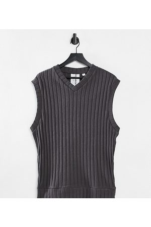 COLLUSION Unisex oversized vest in jersey knit in charcoal co-ord-Grey