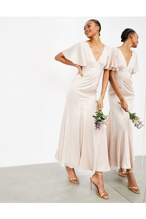 ASOS Satin maxi dress with flutter sleeve in pink